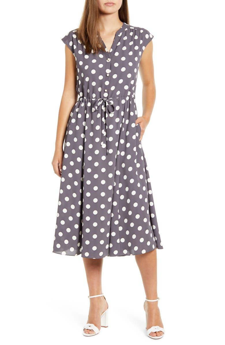 ANNE KLEIN Polka Dot Midi Dress, Main, color, NANTUCKET GREY/ ANNE WHITE