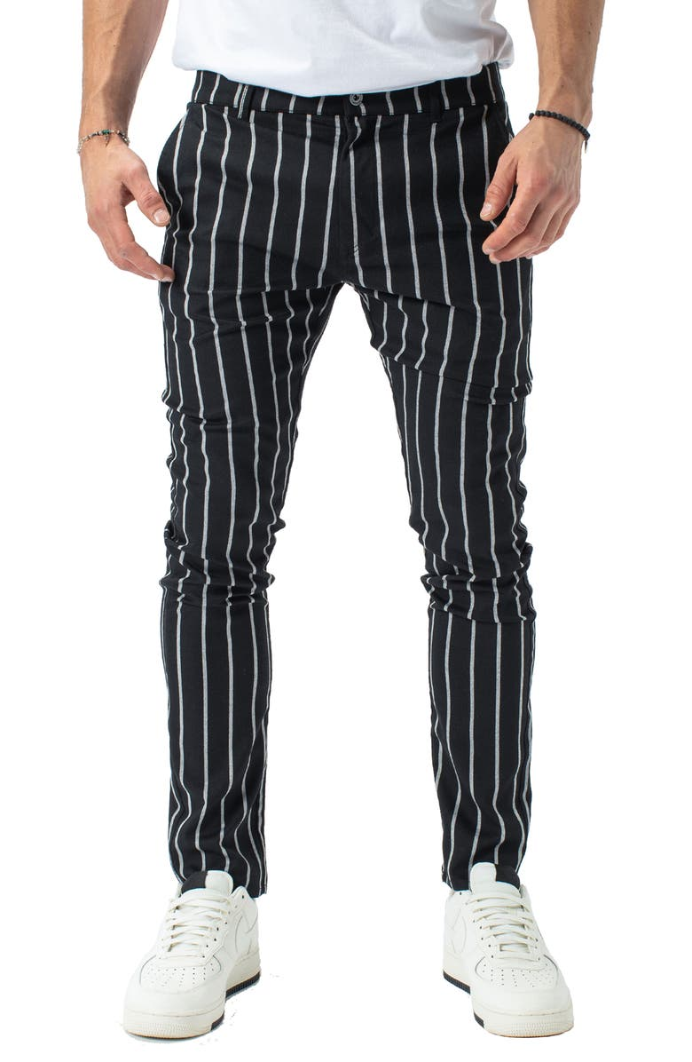 ZANEROBE Snapshot Slim Fit Stripe Chinos, Main, color, BLACK/ MILK