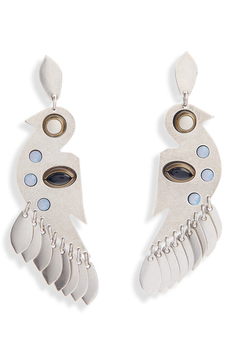 ISABEL MARANT Bouclé Drop Earrings, Main, color, BLUE/ SILVER
