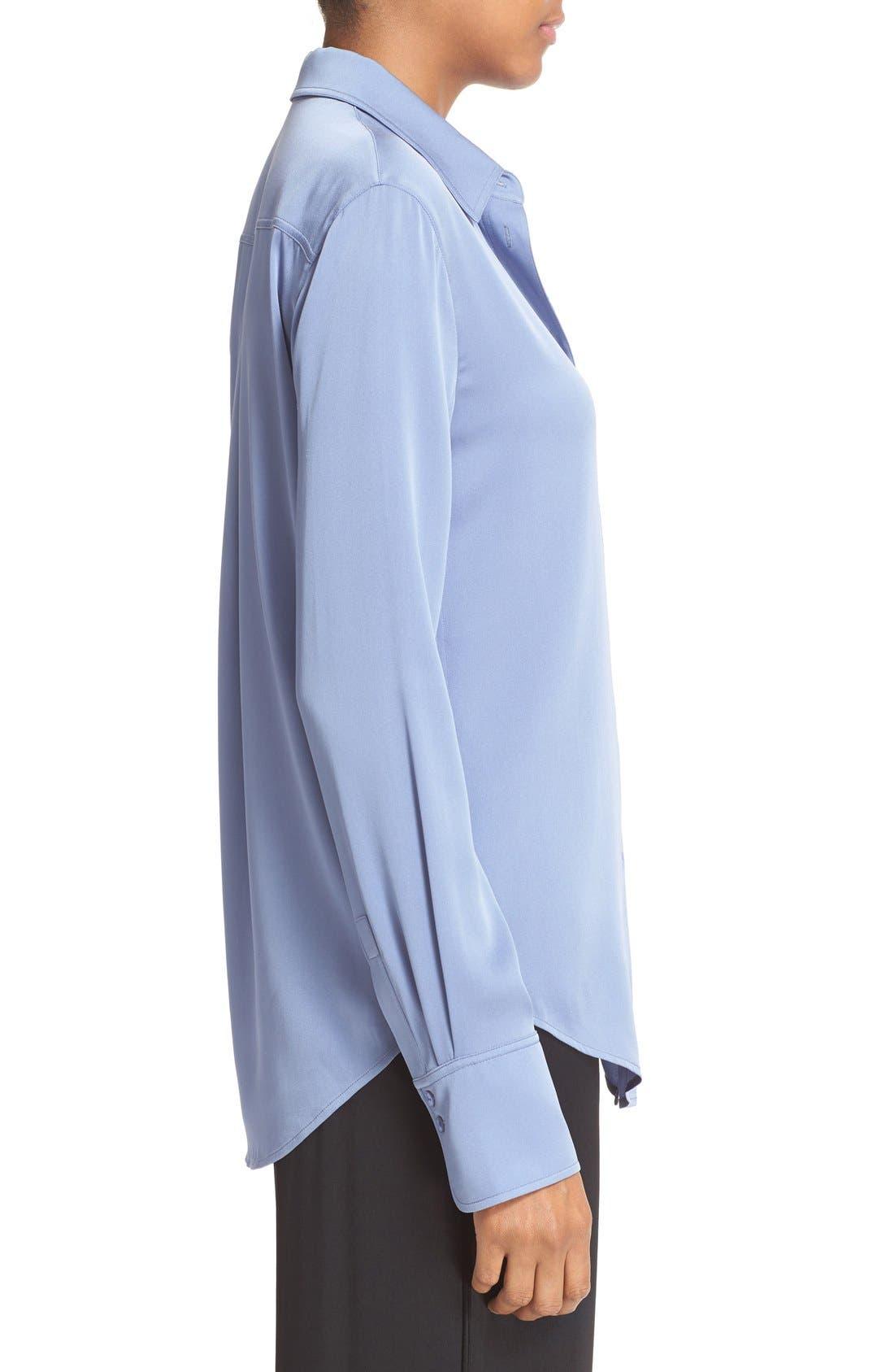 ,                             Slim Fit Stretch Silk Blouse,                             Alternate thumbnail 8, color,                             400
