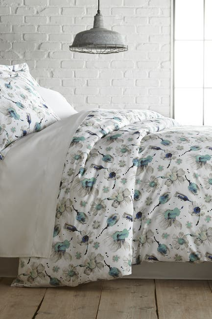 Image of SOUTHSHORE FINE LINENS King/California King Premium Collection Ultra-Soft 300 Thread-Count Cotton Duvet Cover Sets - Watercolor Symphony Blue