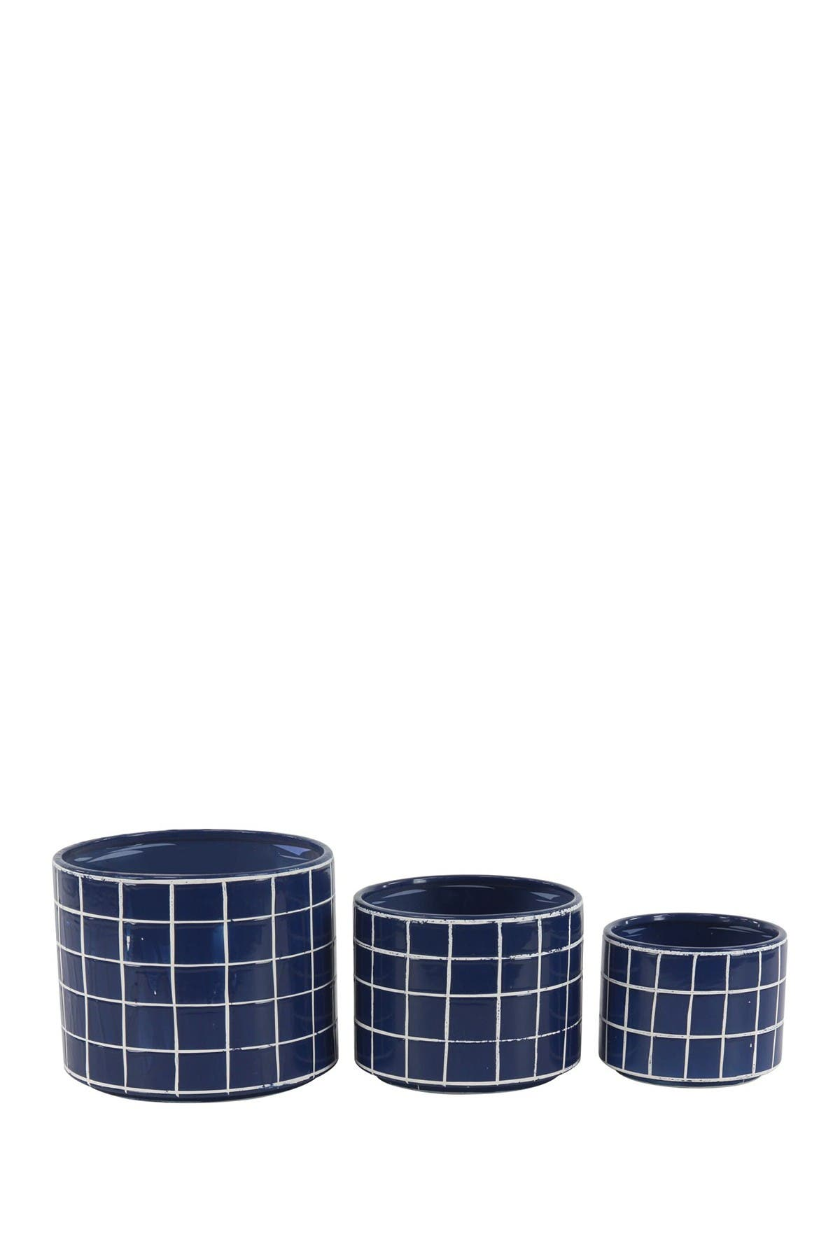 Image of Willow Row Blue Modern Cylindrical Ceramic Vase - Set of 3