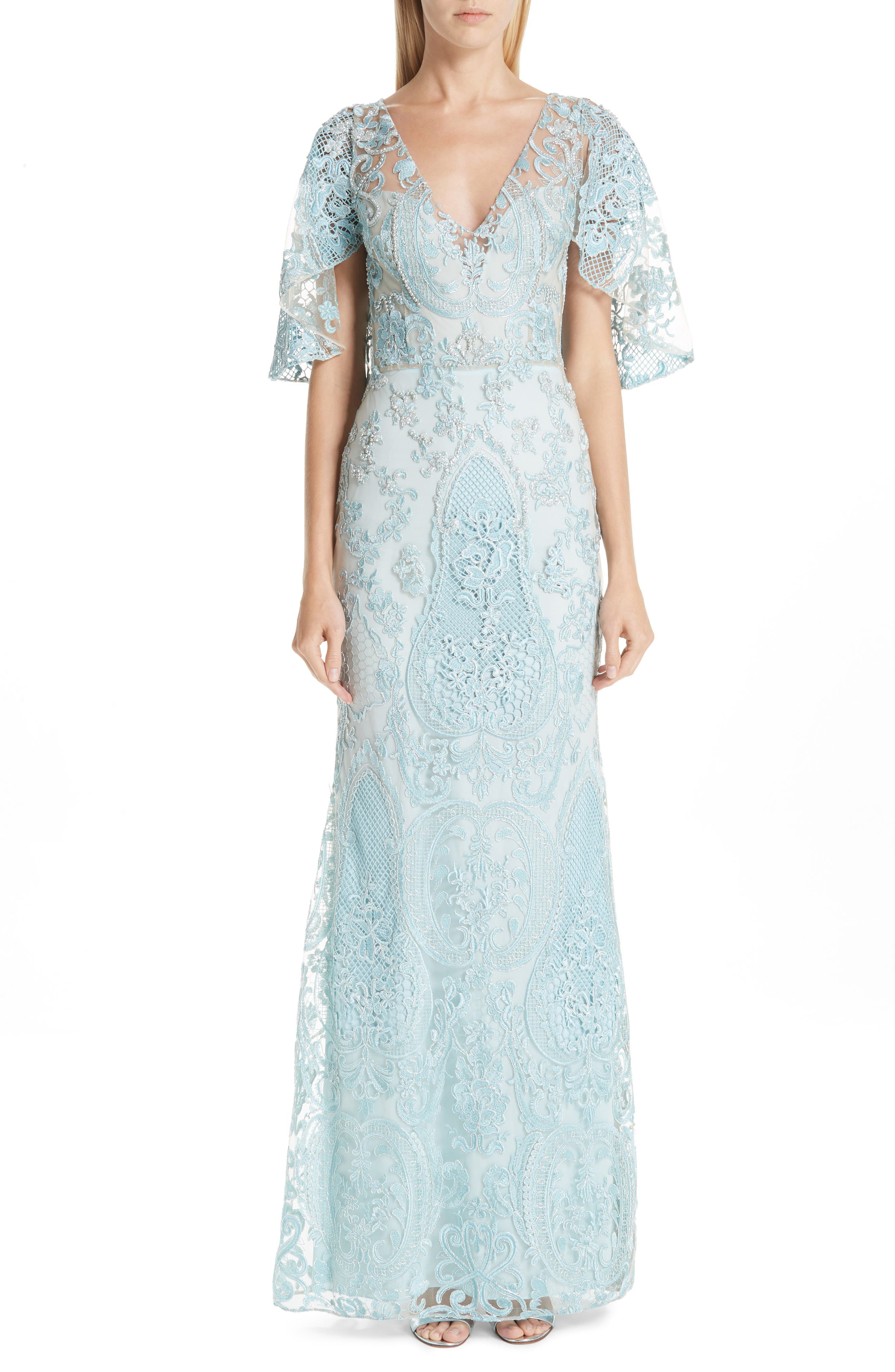 Patbo Flutter Sleeve Beaded Lace Gown, 8 BR - Blue