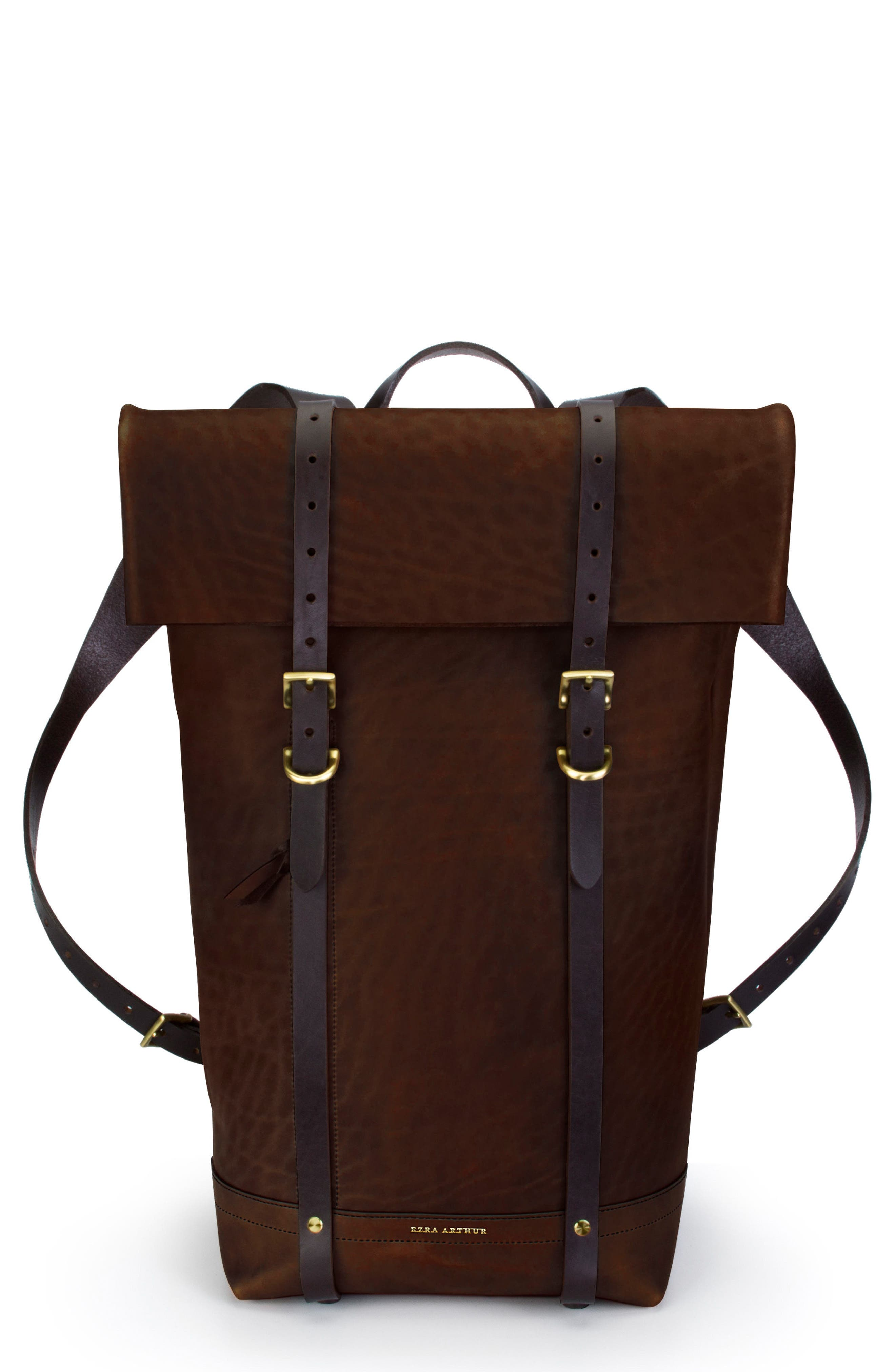 Keystone Brass Detail Leather Rucksack