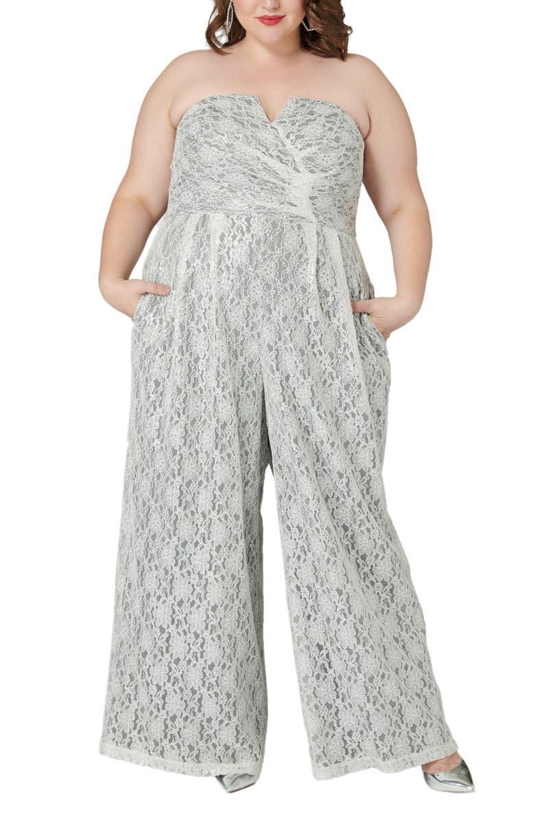 MARÉE POUR TOI Maree Pour Toi The Magic Lace Strapless Jumpsuit, Main, color, SILVER