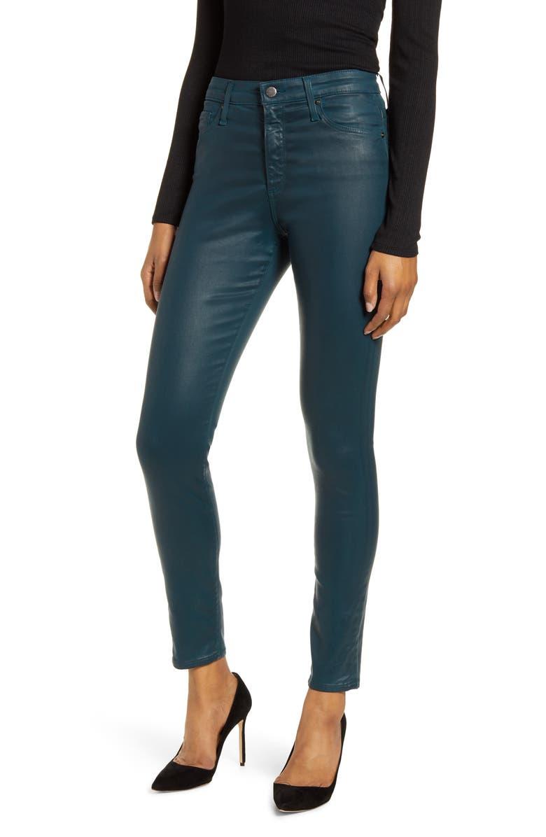 AG Farrah High Waist Ankle Skinny Jeans, Main, color, LEATHERETTE LT ROYAL LAGOON