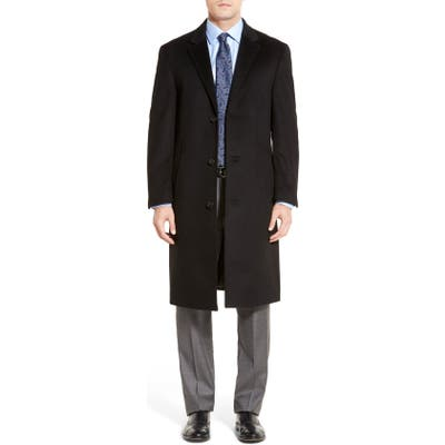 Hart Schaffner Marx Sheffield Classic Fit Wool & Cashmere Overcoat, 6 R - Black