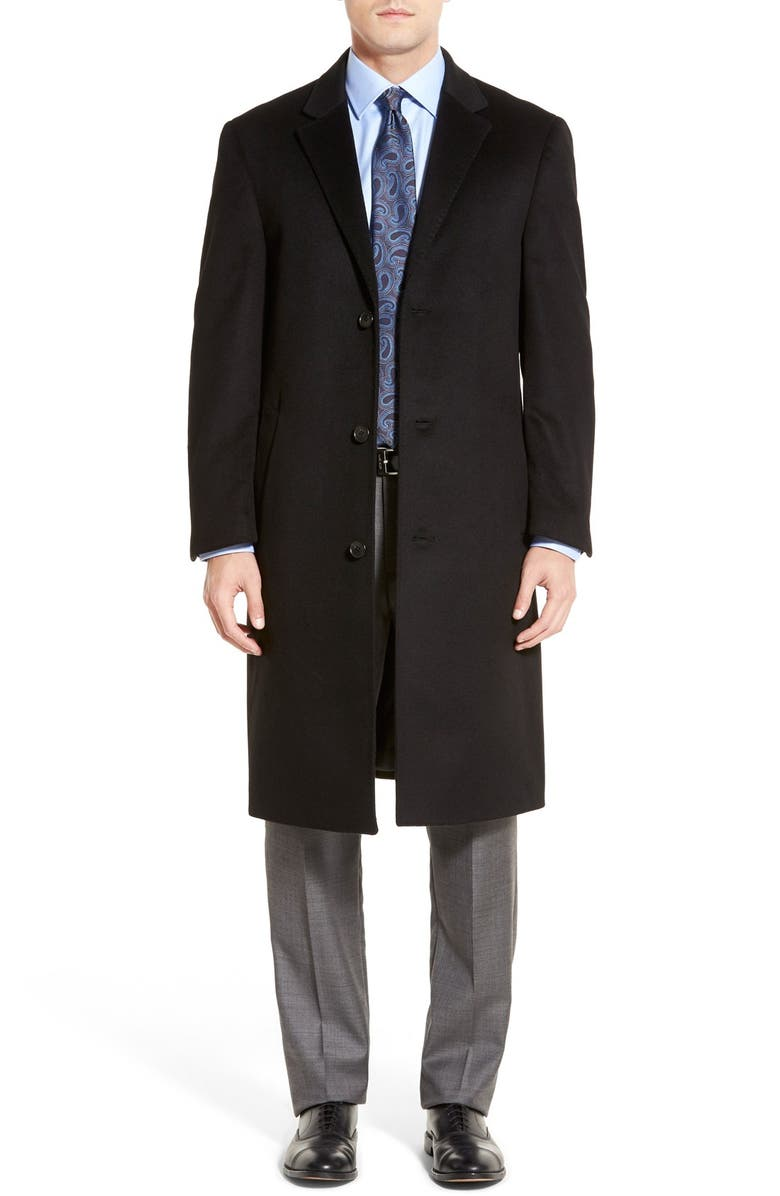HART SCHAFFNER MARX Sheffield Classic Fit Wool & Cashmere Overcoat, Main, color, BLACK