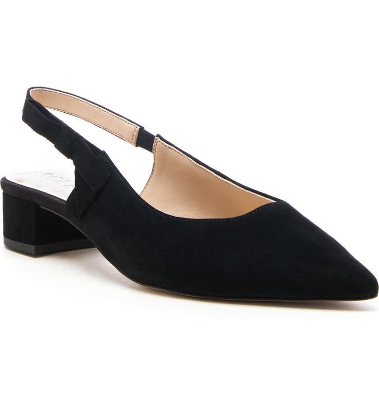 SOLE SOCIETY Maelie Bow Slingback Pump, Main, color, BLACK SUEDE