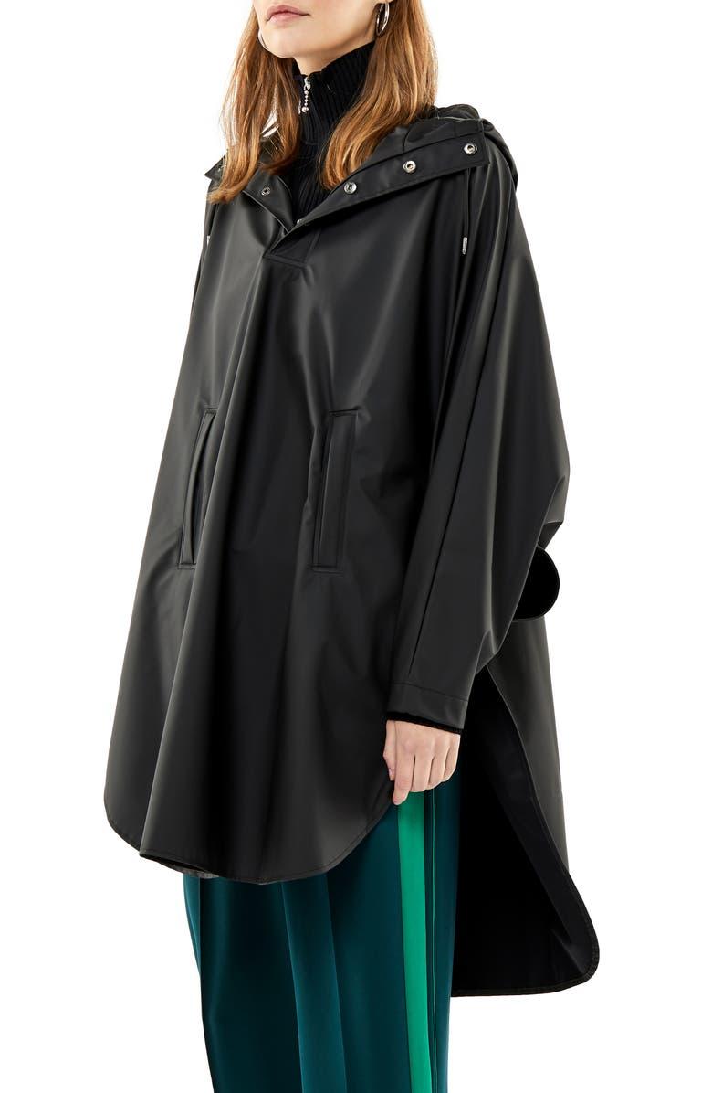 RAINS Waterproof Hooded Rain Poncho, Main, color, 001