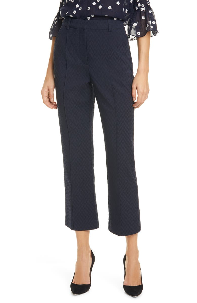 REBECCA TAYLOR Crop Zigzag Jacquard Pants, Main, color, NAVY