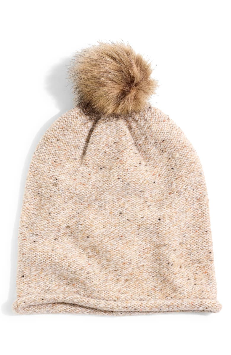 MADEWELL Faux Fur Pompom Beanie, Main, color, ASHEN SAND