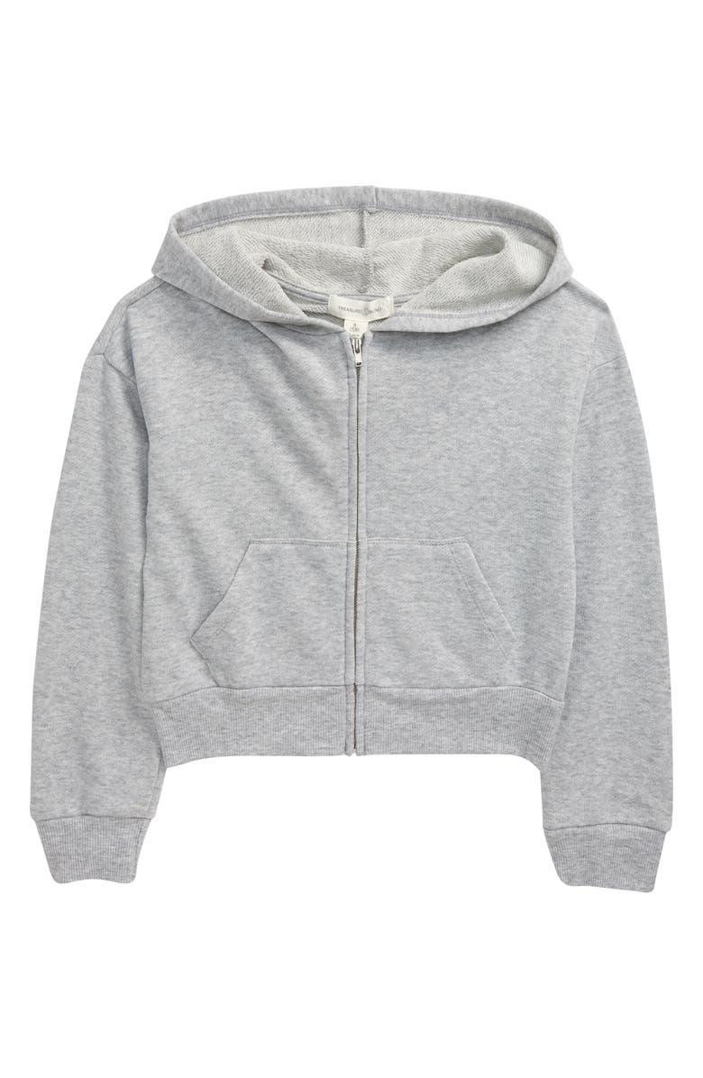 TREASURE & BOND Kids' Kid's Front Zip Crop Hooded Sweatshirt, Main, color, GREY LIGHT HEATHER