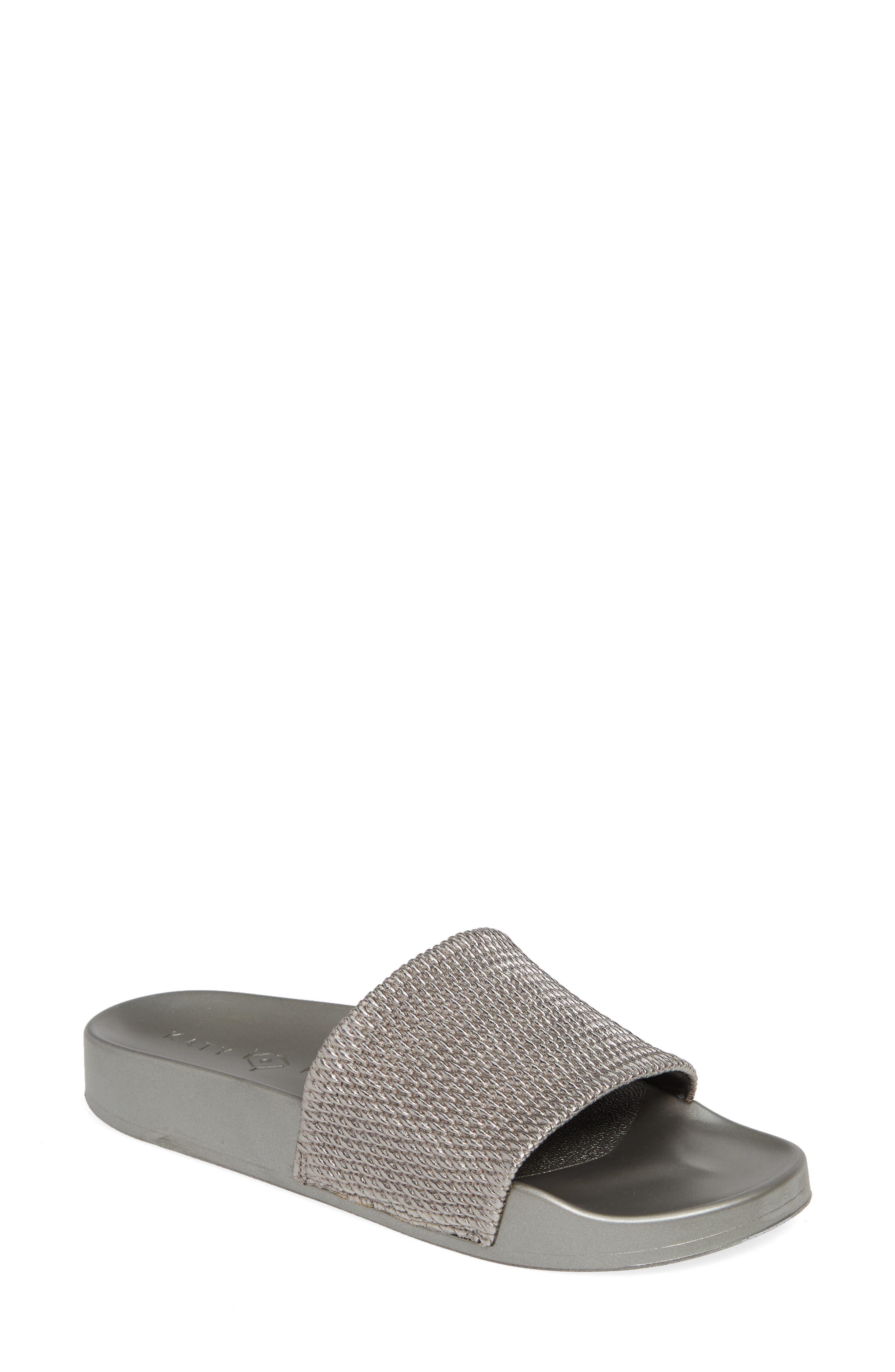 women's katy perry the jimmi slide sandal, size 8 m - grey