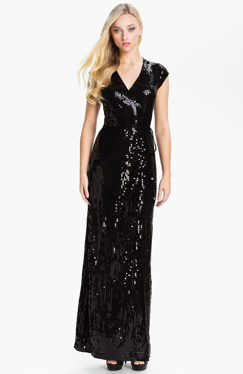 MICHAEL MICHAEL KORS Sequin Wrap Maxi Dress, Main, color, 001