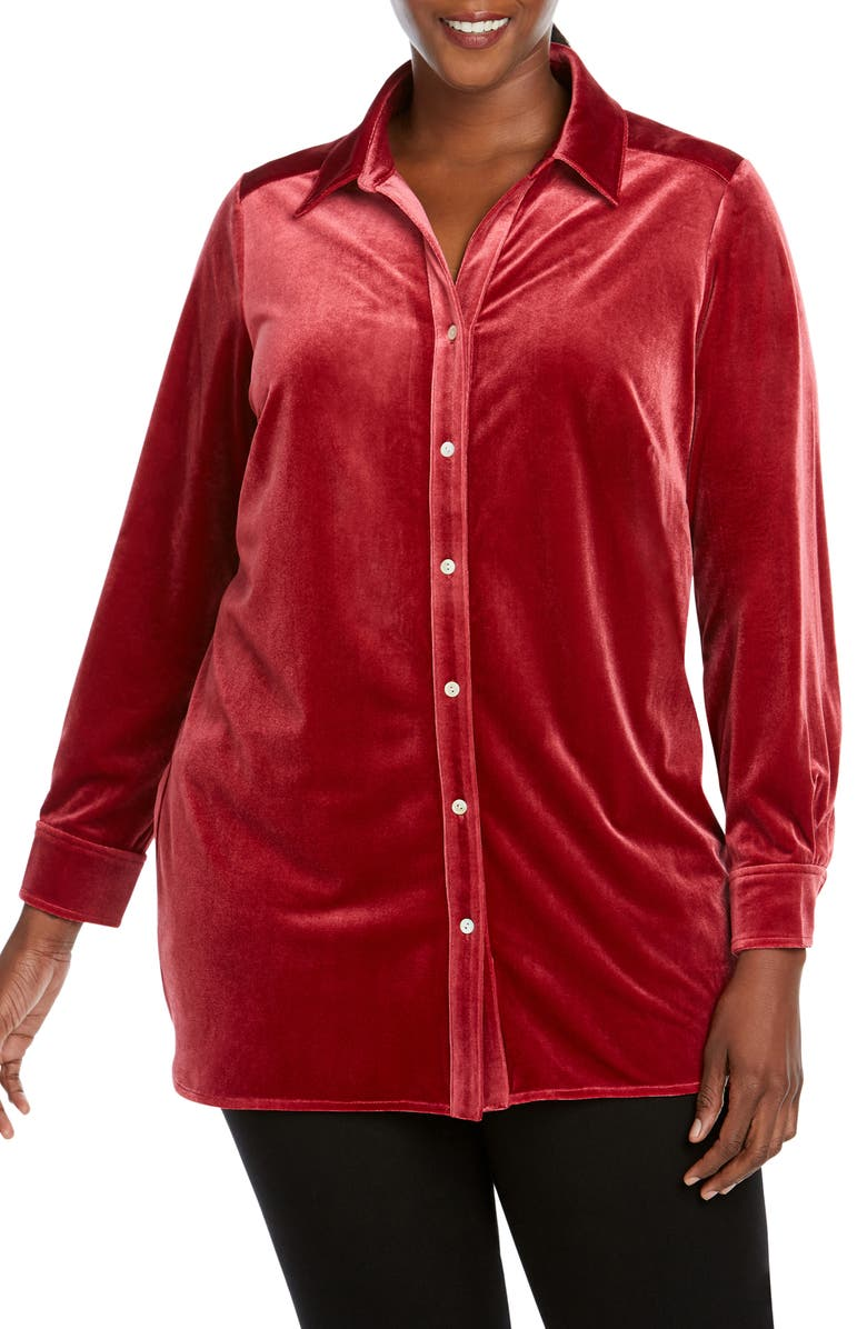 FOXCROFT Elena Velvet Shirt, Main, color, CABERNET
