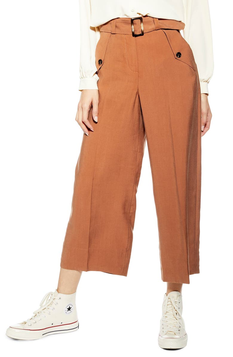 TOPSHOP Belted Wide Leg Crop Trousers, Main, color, RUST