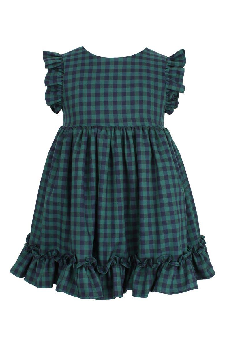 POPATU Check Flutter Sleeve Ruffle Dress, Main, color, NAVY/ GREEN