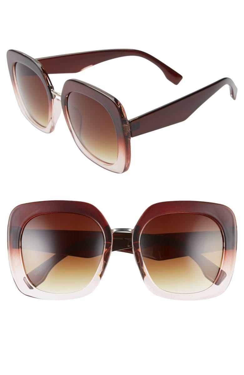 BP. 53mm Retro Square Sunglasses, Main, color, MILKY BROWN CLEAR