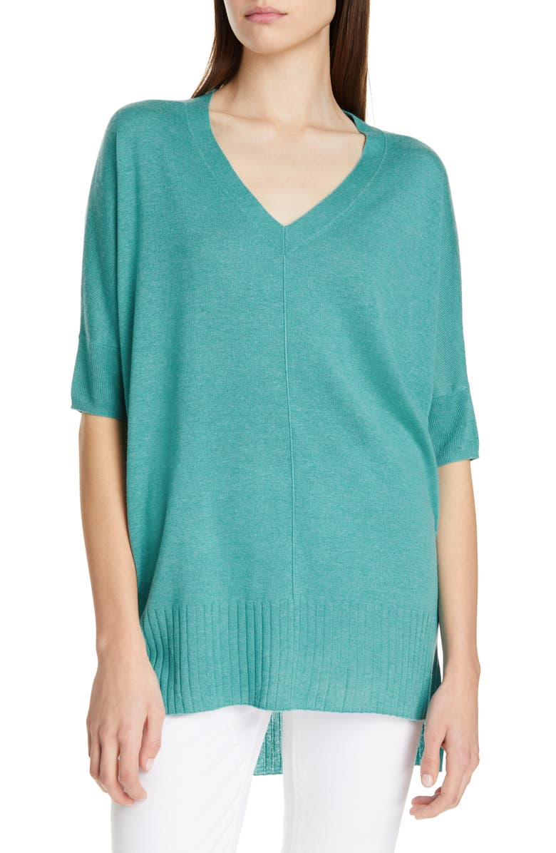 NORDSTROM SIGNATURE High/Low Silk & Cashmere Sweater, Main, color, GREEN AGATE