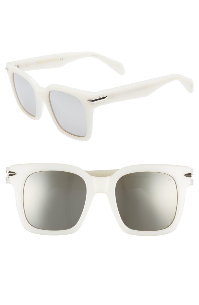RAG & BONE 51mm Polarized Mirrored Square Sunglasses, Main, color, WHITE
