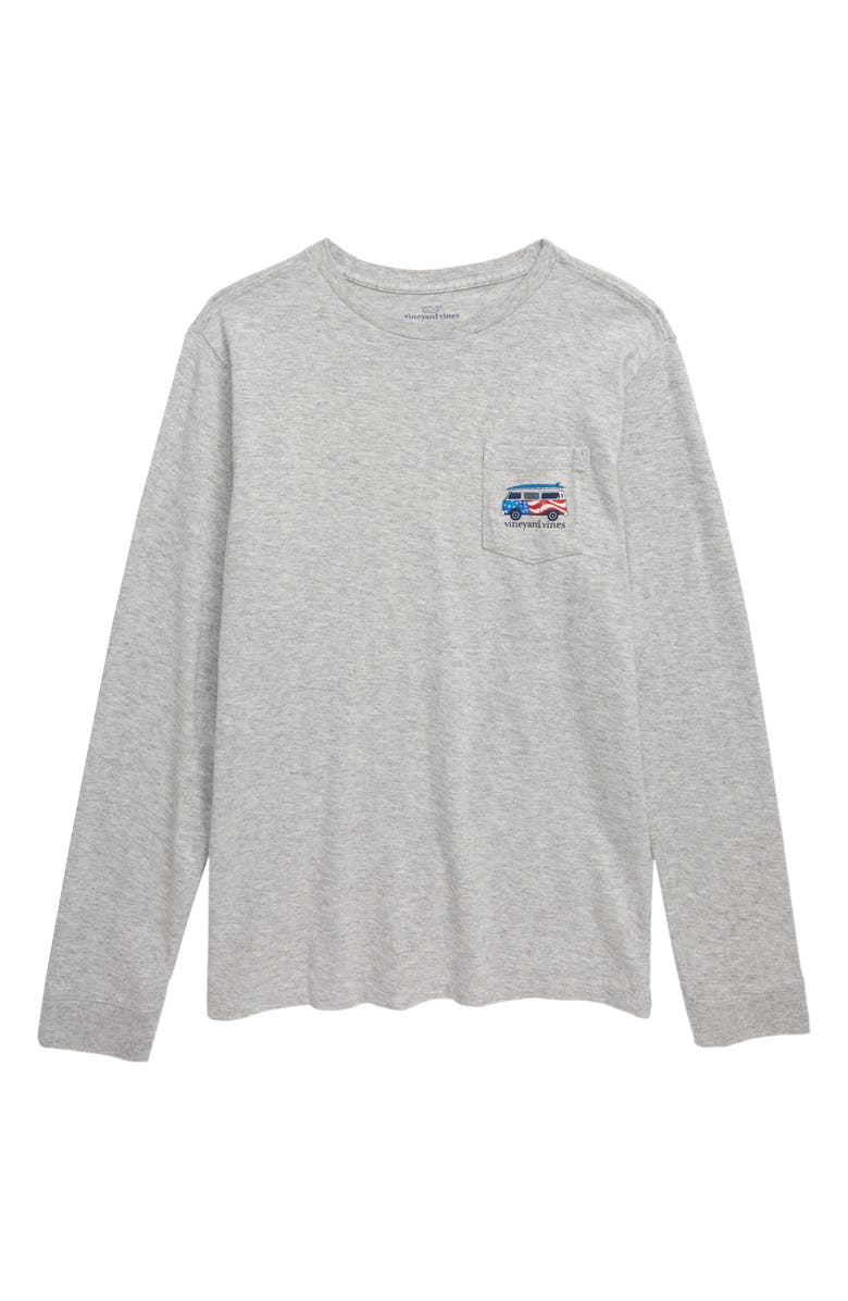 VINEYARD VINES USA Bus & Board Long Sleeve T-Shirt, Main, color, GREY HEATHER