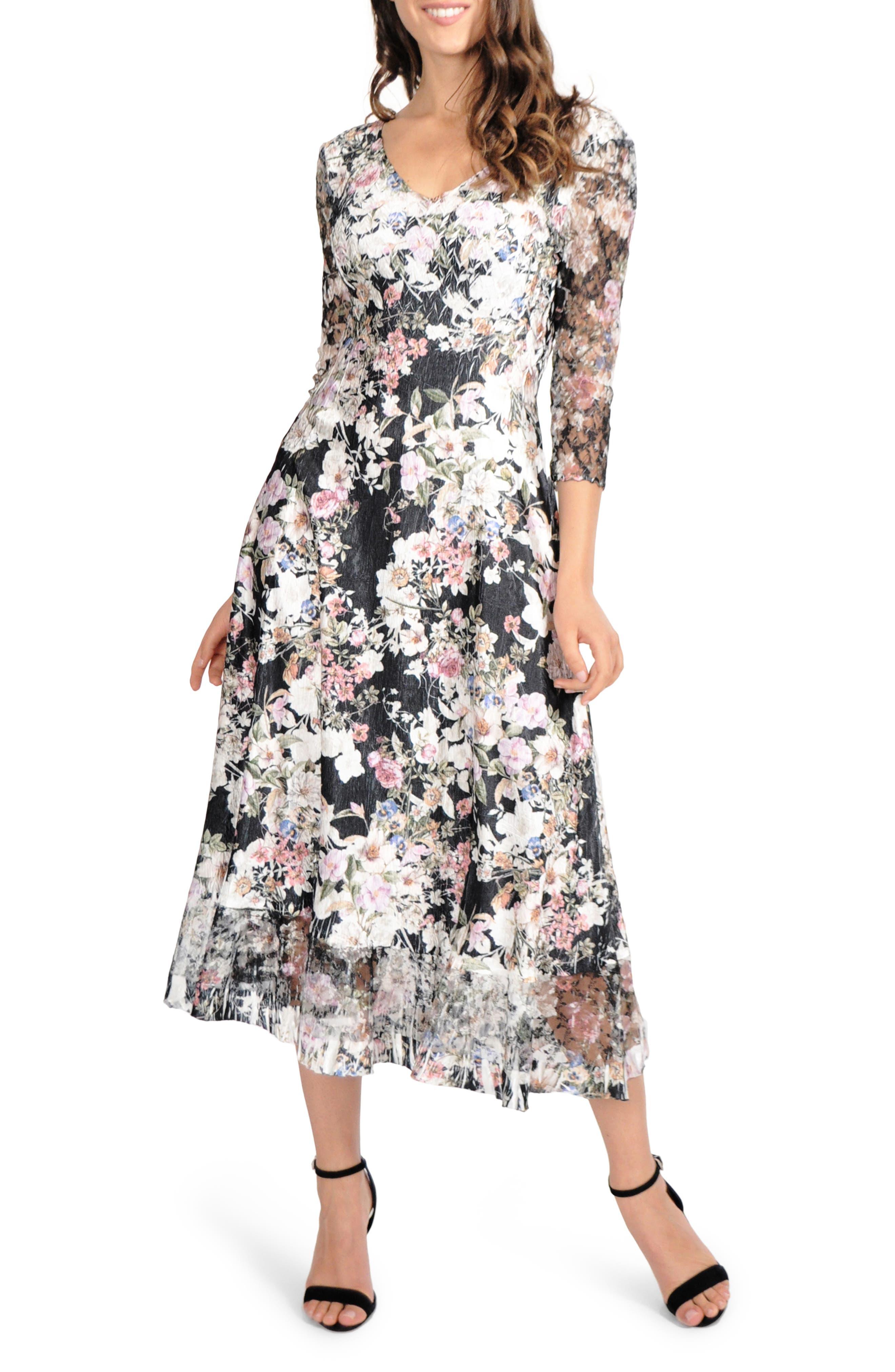 Petite Komarov Lace Sleeve Charmeuse Midi Dress, Black