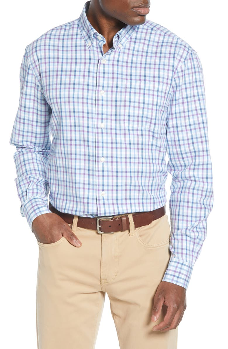 JOHNNIE-O Clay Classic Fit Check Button-Down Shirt, Main, color, PASSIONFRUIT