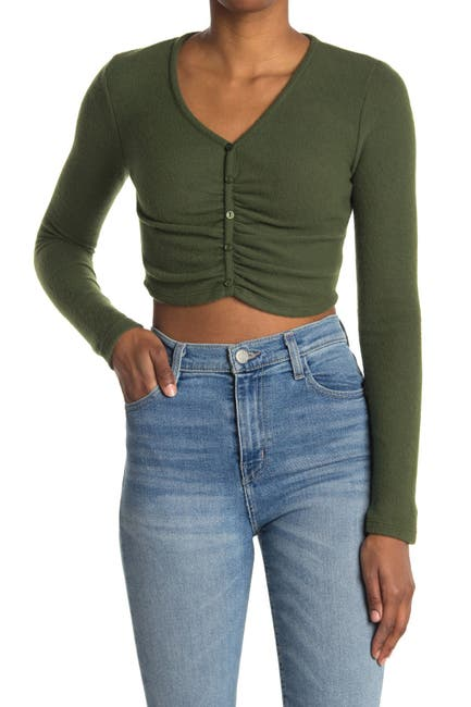 Image of Abound Long Sleeve Ruche Front Crop Top