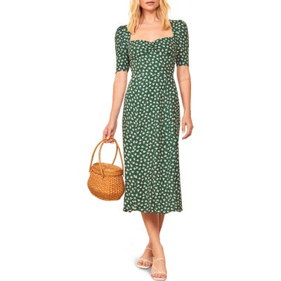 Reformation Matin Ruched Neck Midi Dress, Green