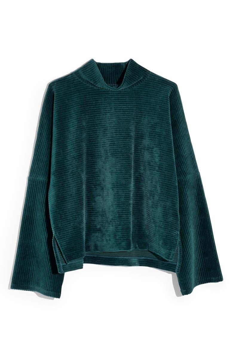 MADEWELL Texture & Thread Velour Corduroy Mock Neck Top, Main, color, SMOKY SPRUCE