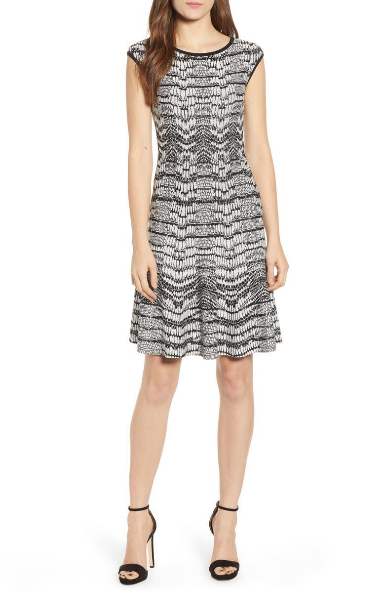 SENTIMENTAL NY Pattern Sweater Dress, Main, color, WHITE/ BLACK