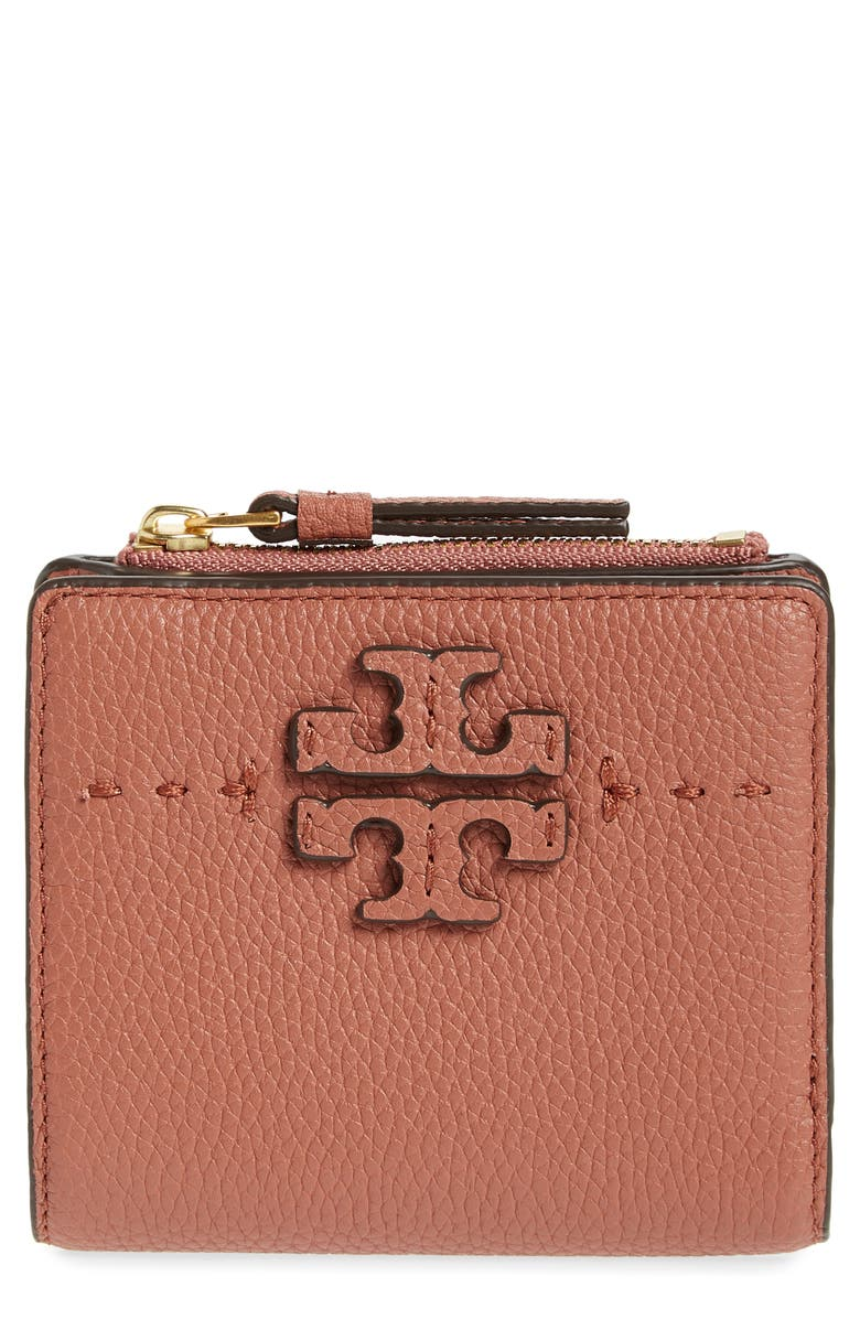 TORY BURCH Mini McGraw Leather Wallet, Main, color, DARK CIDER