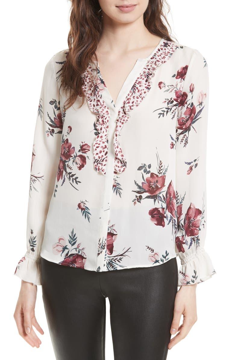 JOIE Jayann B Ruffle Front Floral Silk Blouse, Main, color, 114