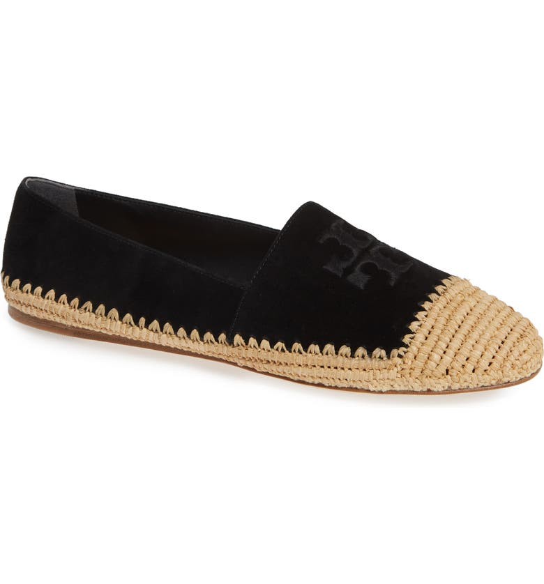 TORY BURCH Woven Cap Toe Flat, Main, color, PERFECT BLACK