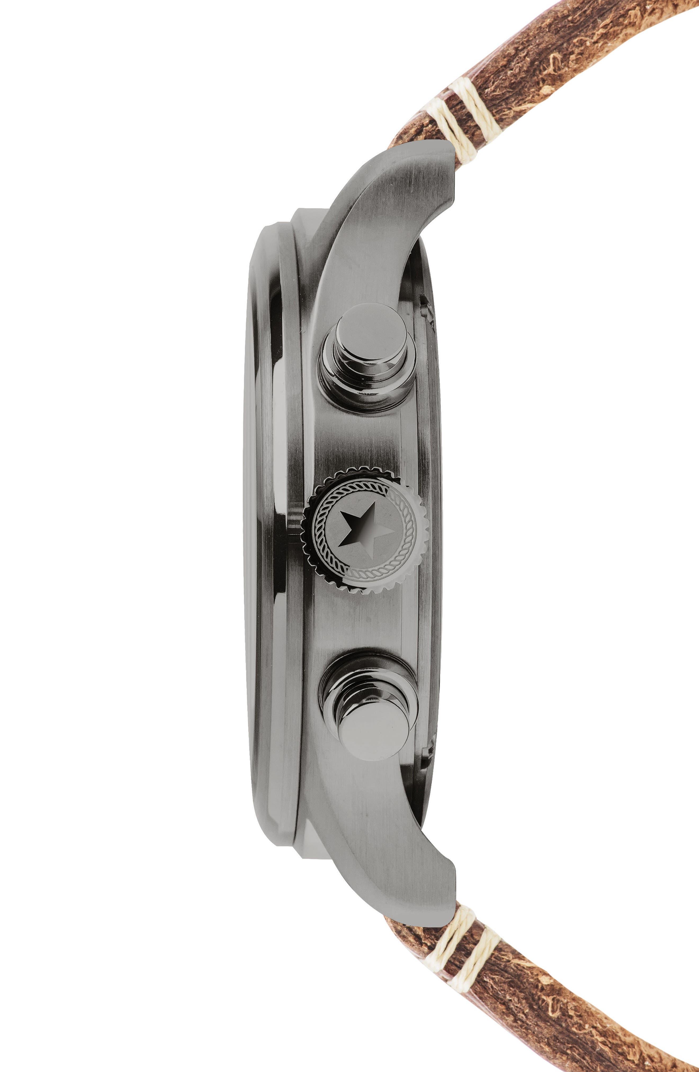 ,                             Brand Aviation Chronograph Watch, 42mm,                             Alternate thumbnail 3, color,                             GREY/ TAN