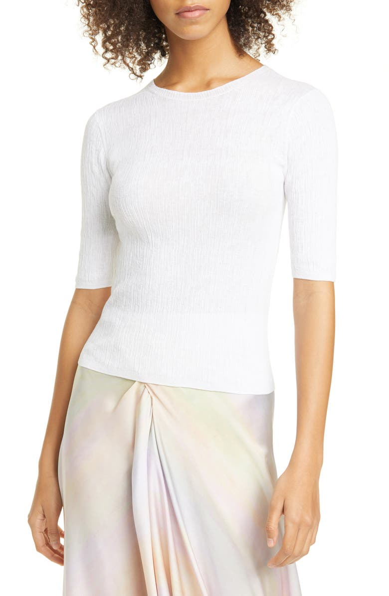 VINCE Broomstick Pleated Cotton Pullover, Main, color, OPTIC WHITE