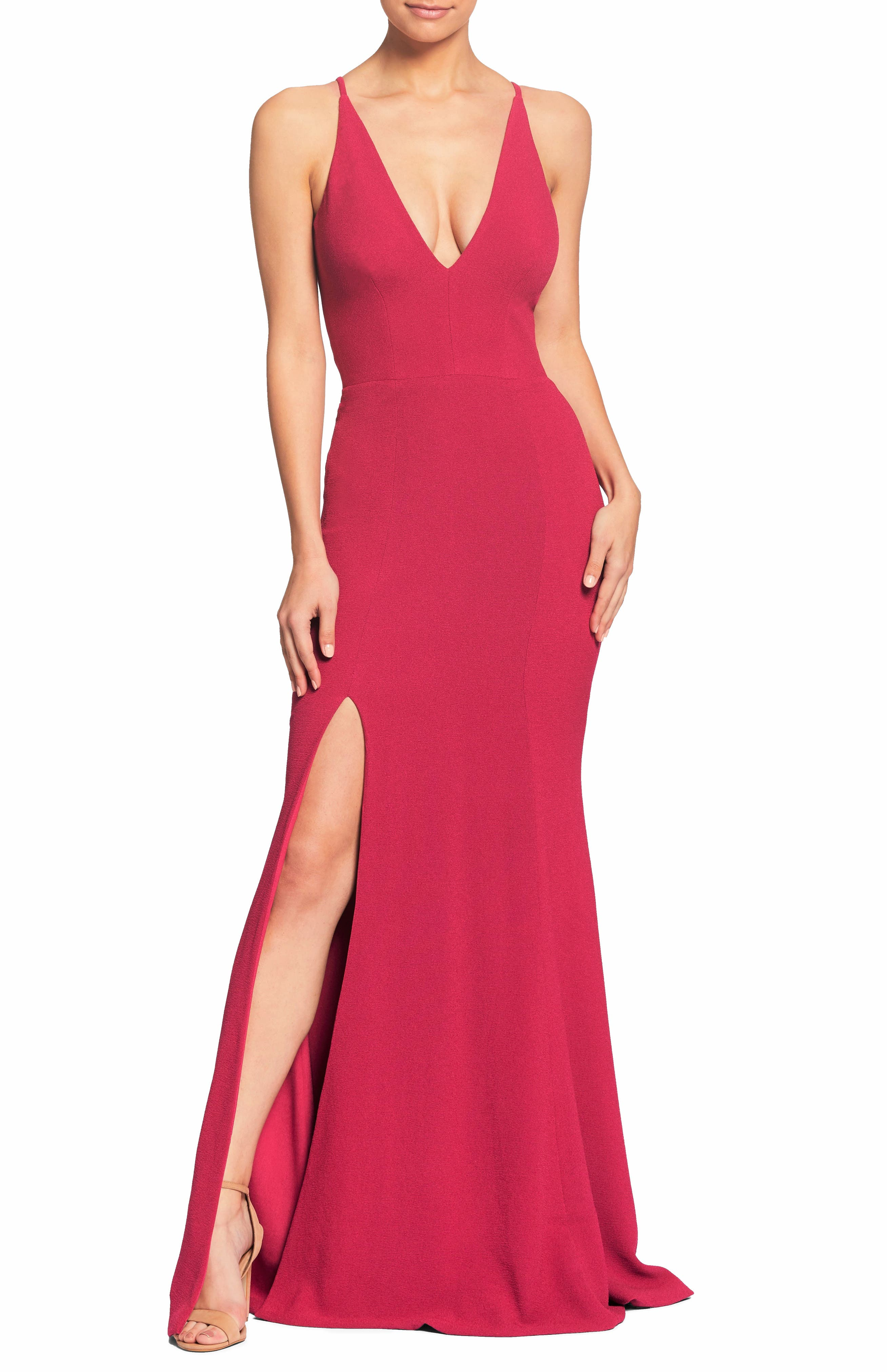 Dress The Population Iris Slit Crepe Gown, Pink