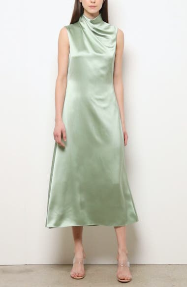 Drape Neck Silk Tea Length Dress, video thumbnail