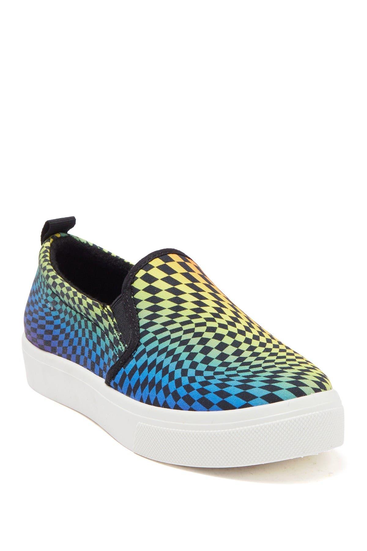 Image of Skechers Poppy Multi Checkered Slip-On Sneaker
