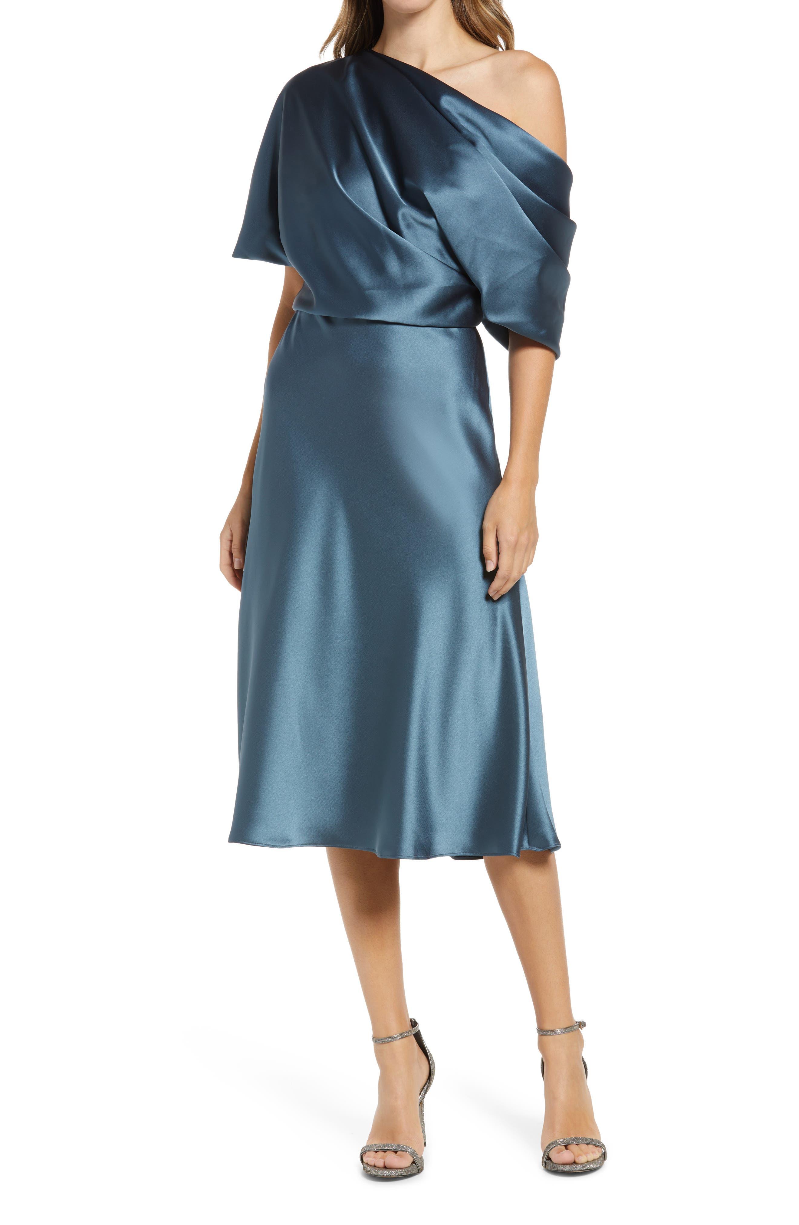 Drape One-Shoulder Midi Cocktail Dress