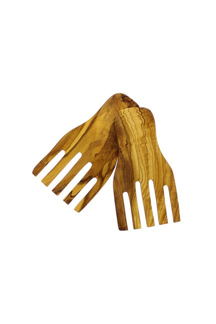 Image of French Home Olive Wood Salad Hands