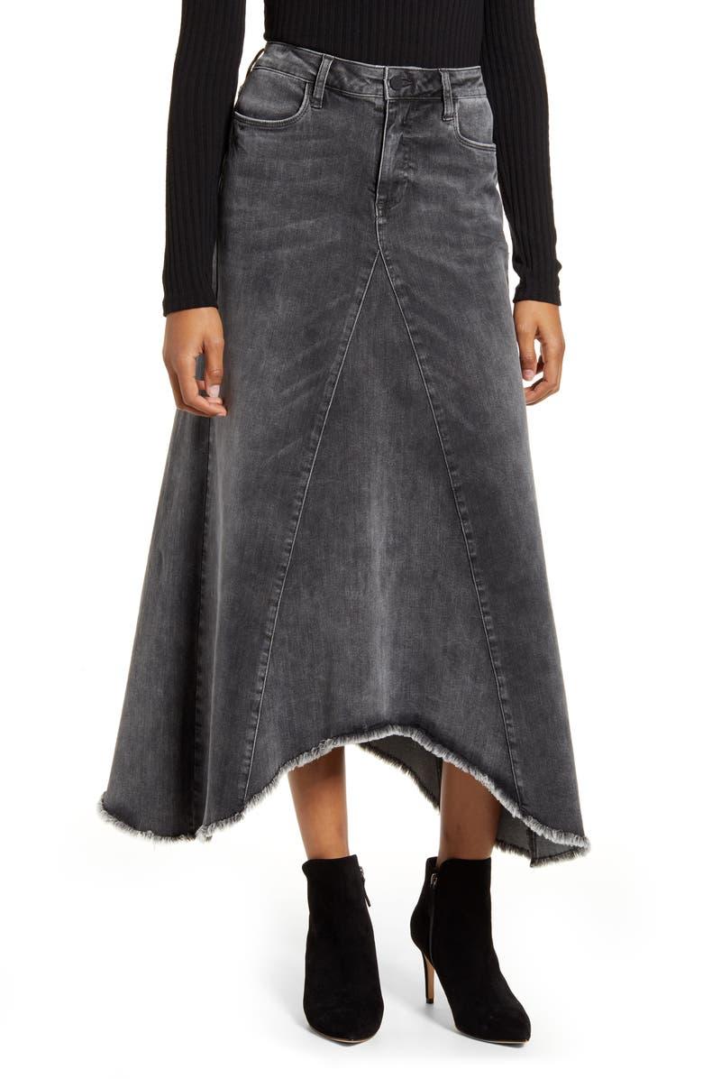 WASH LAB Long Denim Skirt, Main, color, GREY