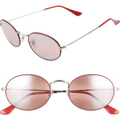 Ray-Ban 5m Polarized Oval Sunglasses - Red Silver