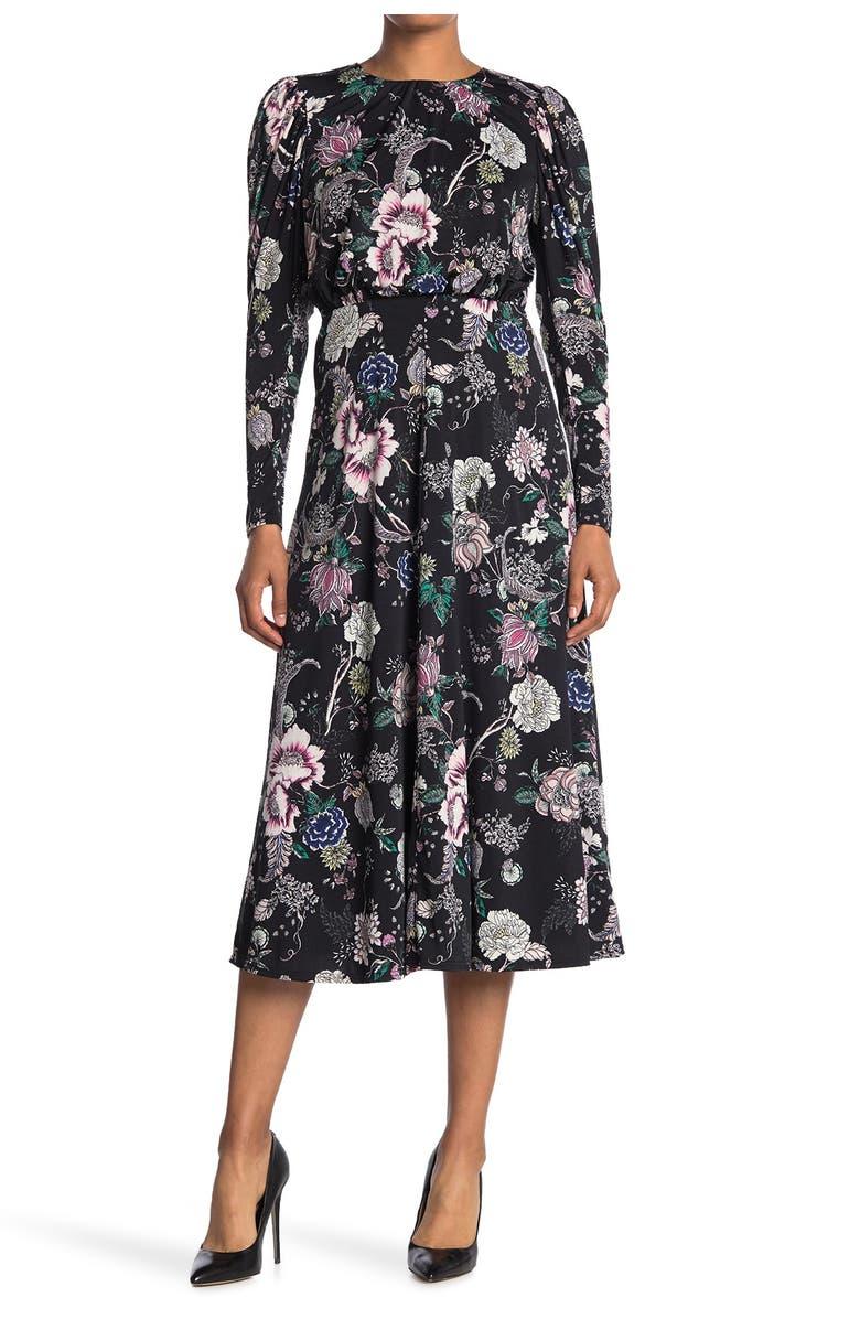 AFRM Delilah Floral Dress, Main, color, NOIR ROSE