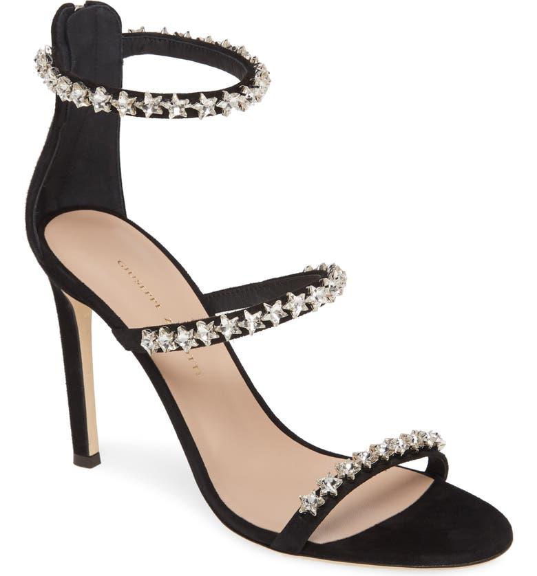 GIUSEPPE ZANOTTI Crystal Star Sandal, Main, color, BLACK