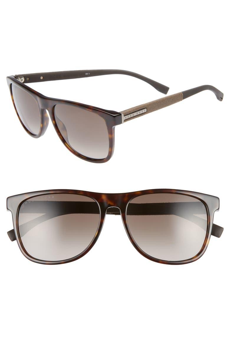BOSS 56mm Polarized Sunglasses, Main, color, DARK HAVANA