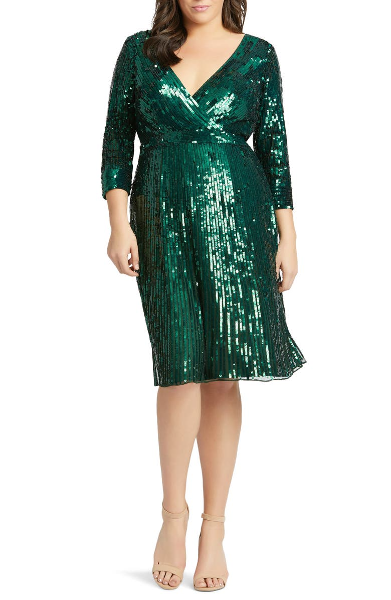 MAC DUGGAL Long Sleeve Sequin Cocktail Dress, Main, color, FOREST GREEN