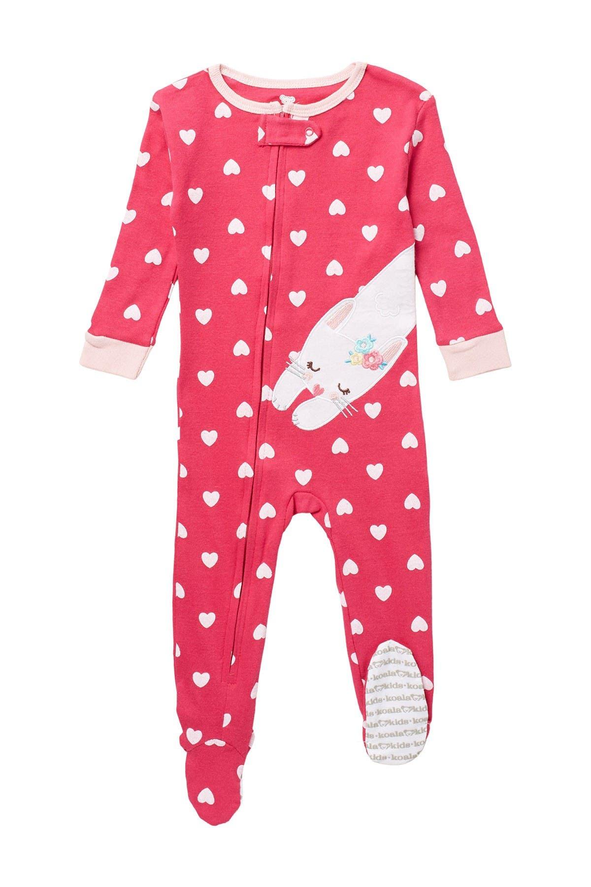Image of koala baby Bunny Heart Print Footed Pajama
