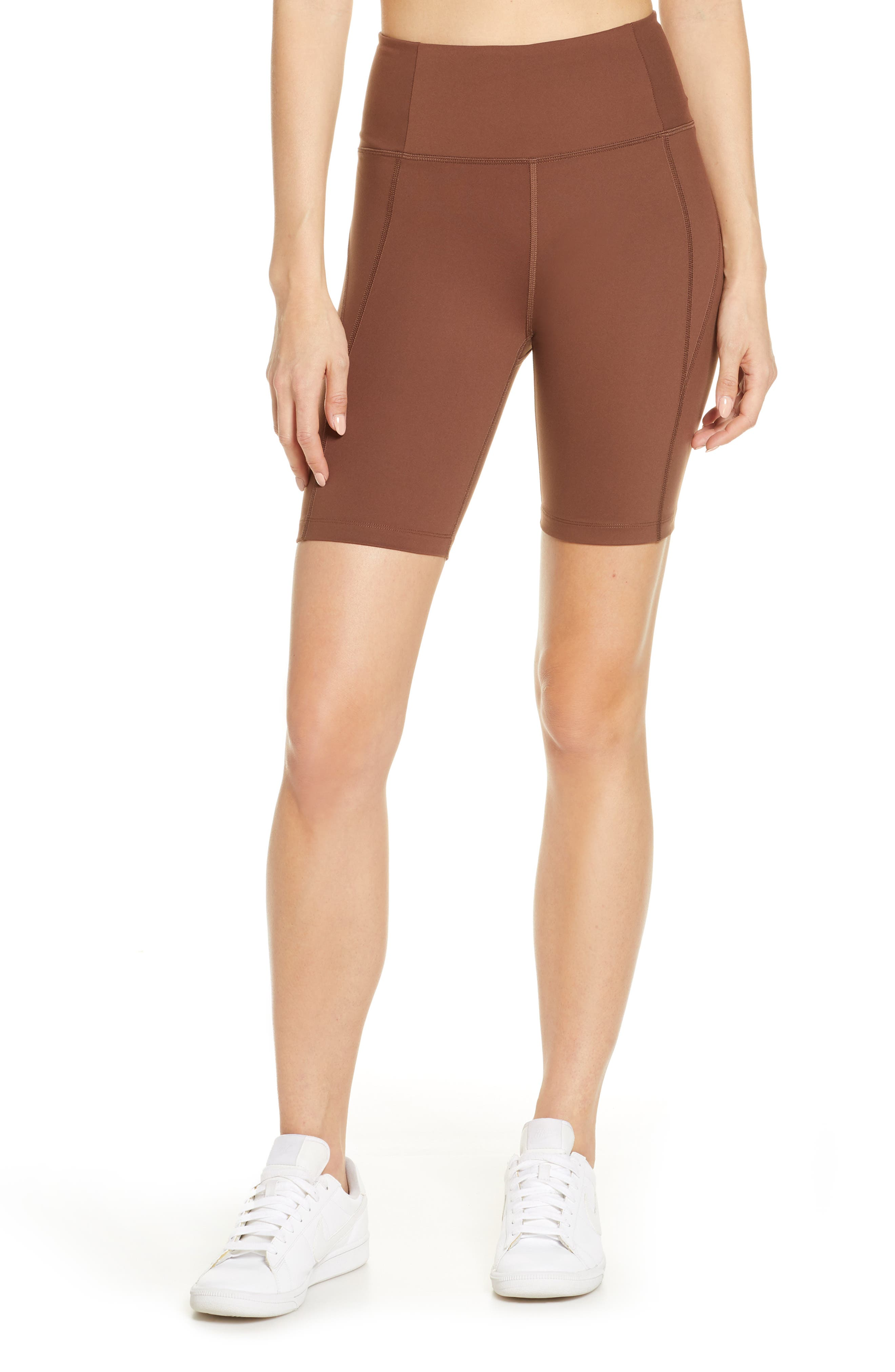 Plus  Women's Girlfriend Collective High Waist Bike Shorts,  3X-Large - Brown